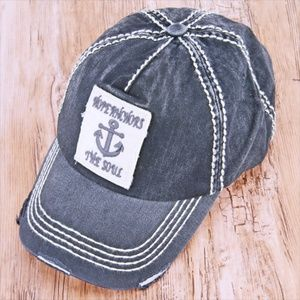 Accessories - Black Distressed 'Hope Anchors The Soul' Cap